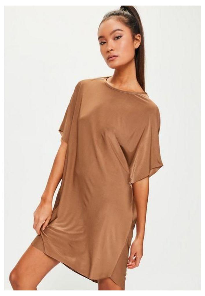 Brown Oversized Slinky Dress, Bronze