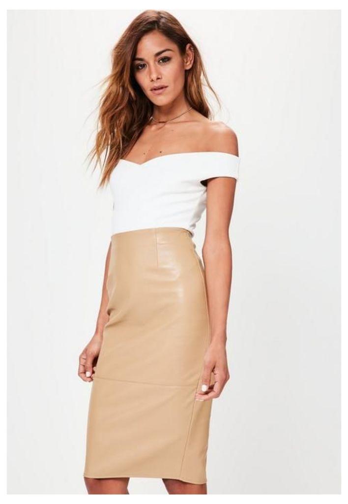 Tan Faux Leather Seam Detail Midi Pencil Skirt, Brown