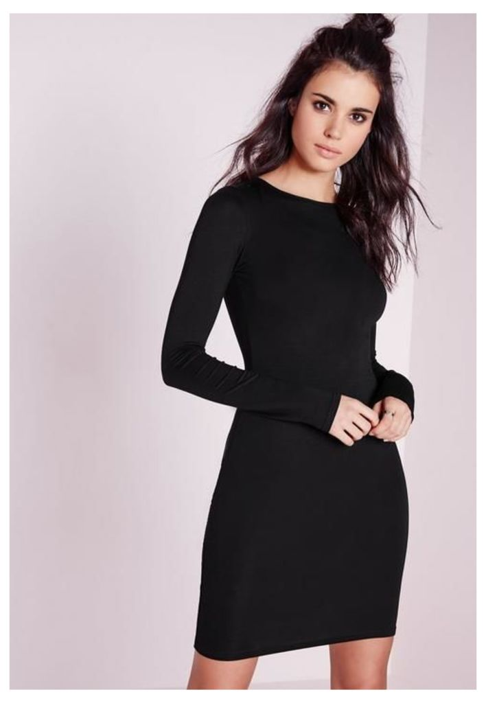 Jersey Bodycon Mini Dress Black, Black
