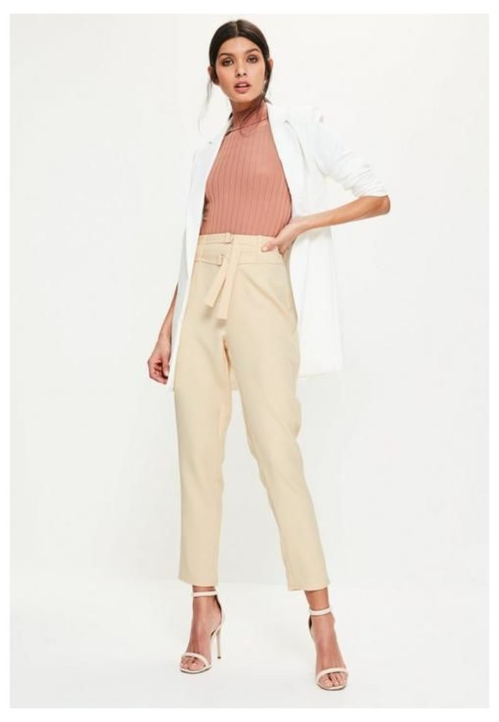 Nude Double Tie Waist Belted Cigarette Trousers, Cream