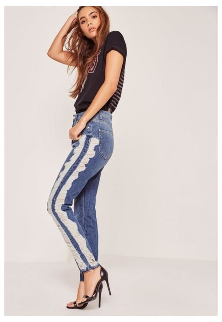 High Waisted Shredded Side Skinny Jeans Blue, Blue