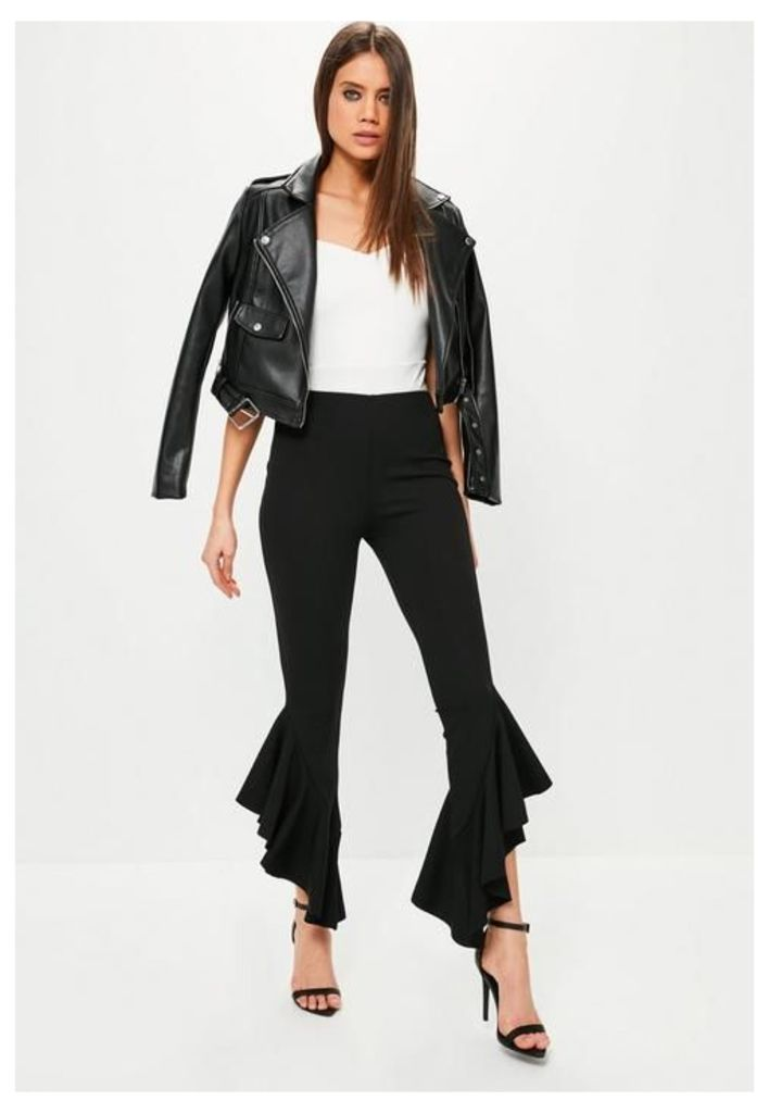 Black Asymmetric Draped Frill Side Cigarette Trousers, Black