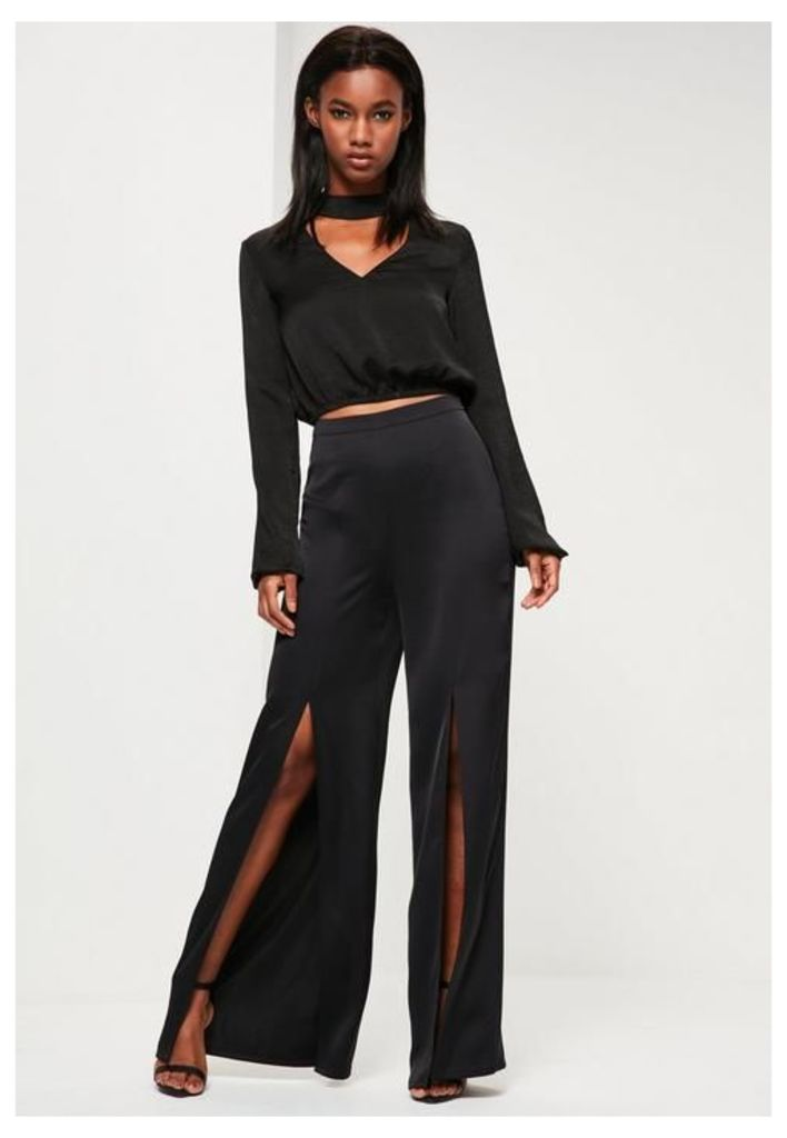 Black Satin Split Front Wide Leg Trousers, Black