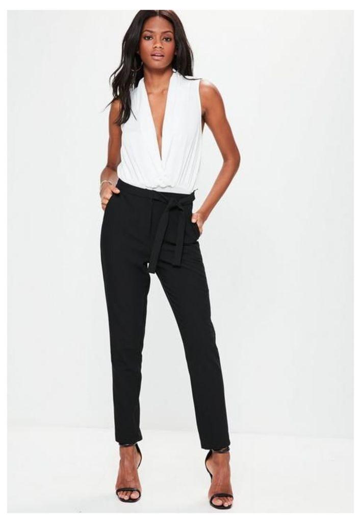Black Tie Waist Cigarette Trousers, Black