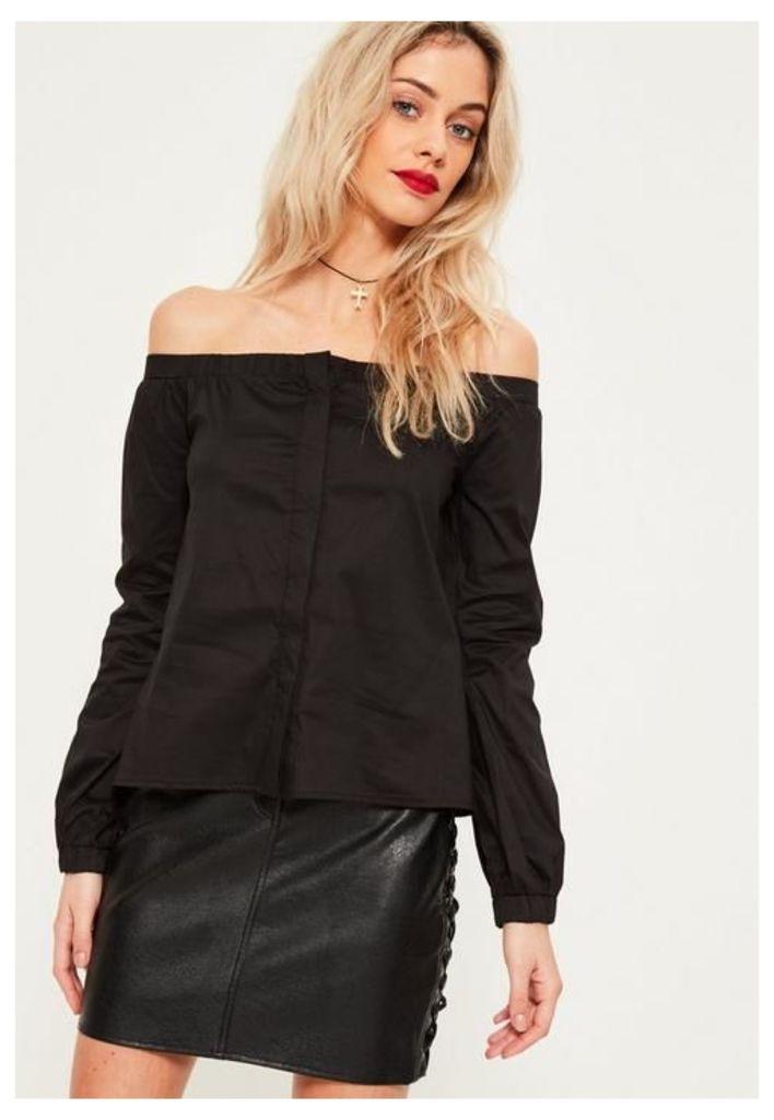 Black Long Sleeve Bardot Blouse, Black