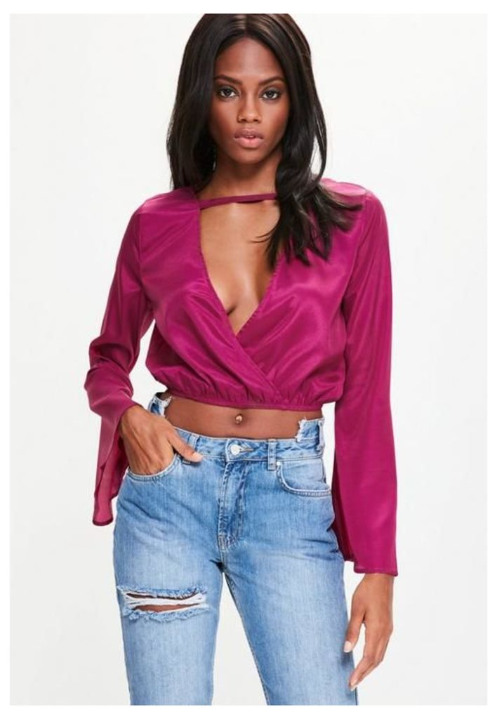 Pink Bar Front Flare Sleeve Wrap Front Crop Blouse, Purple