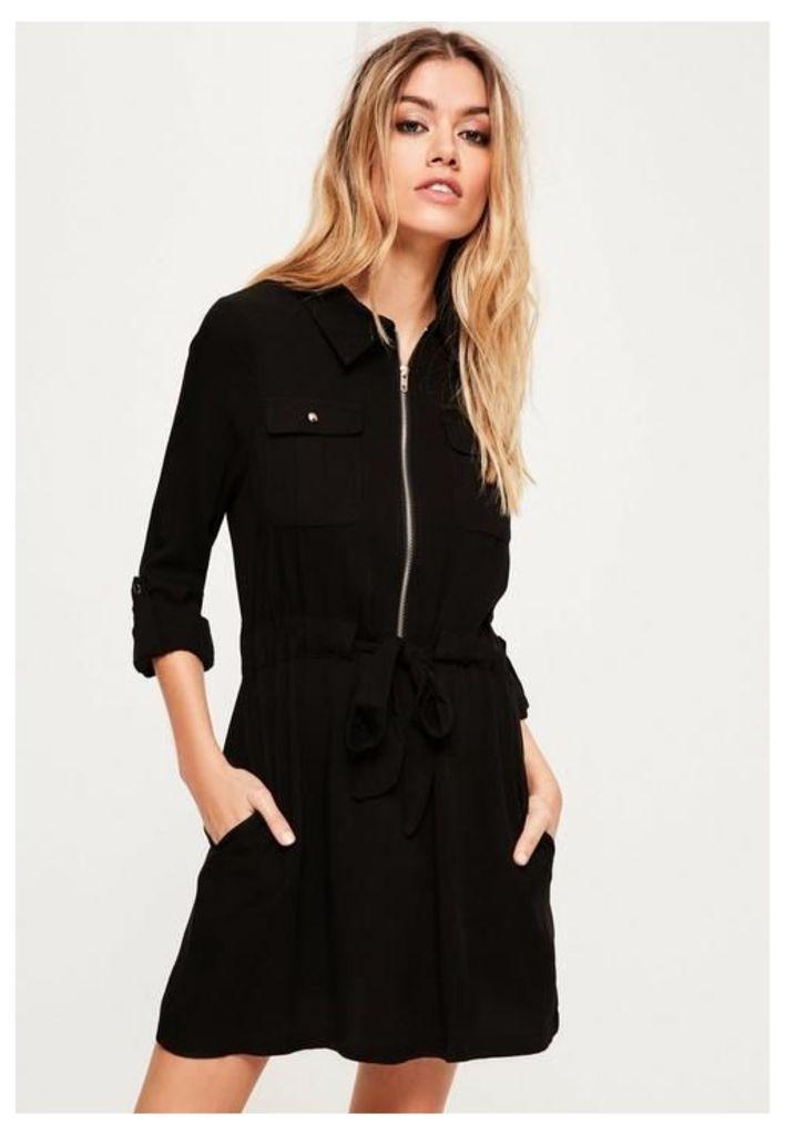 Black Military Tie Waist Shirt Dress, Black