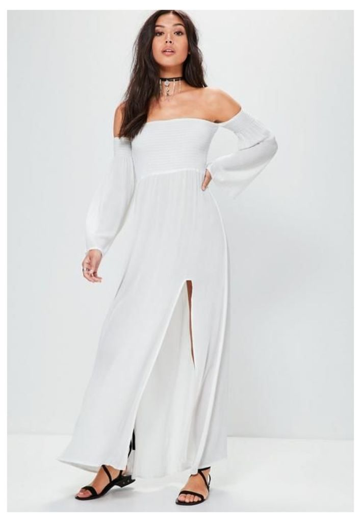 White Shirring Top Split Maxi Dress, Cream