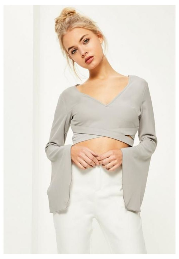 Grey Cross Front Frill Sleeve Crop Top, Grey