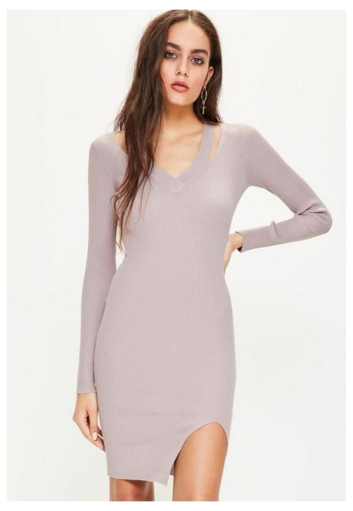 Purple Cut Out V Neck Ribbed Midi Jumper Dress, Mauve