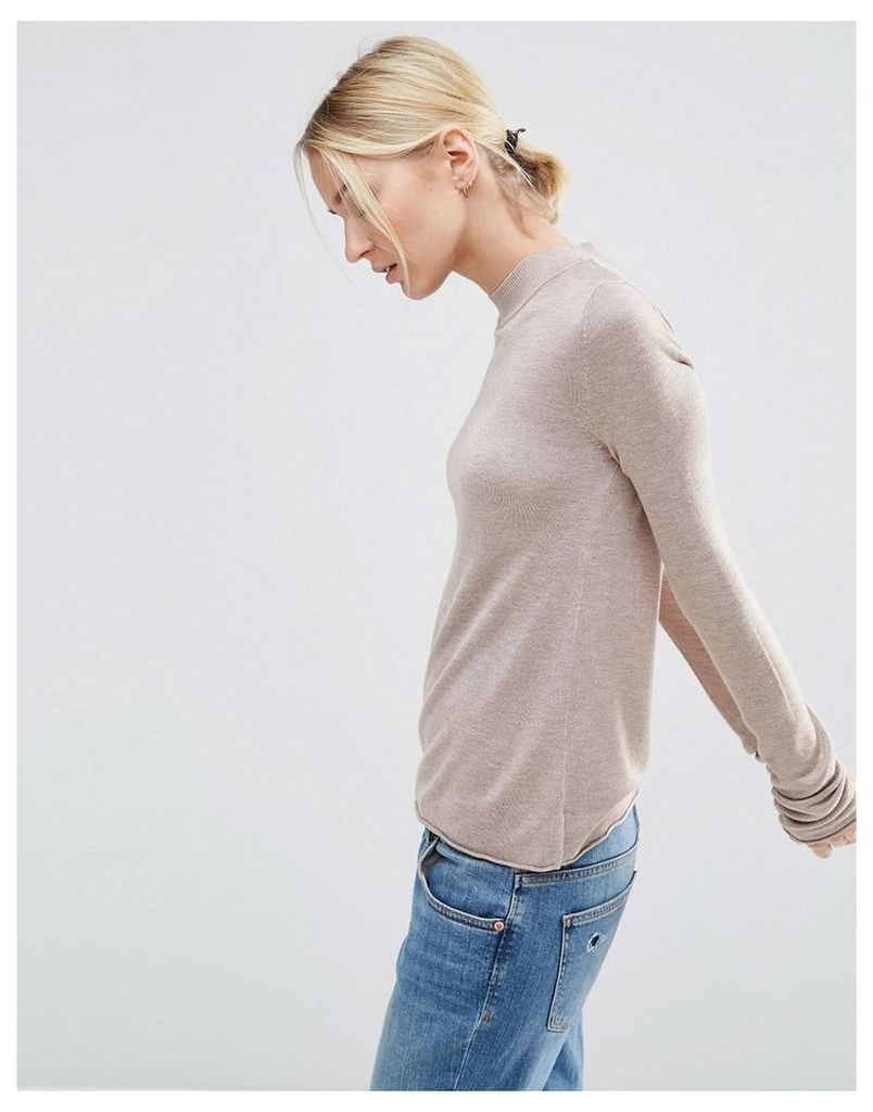 ASOS Jumper With Crew Neck in Soft Yarn - Oatmeal marl