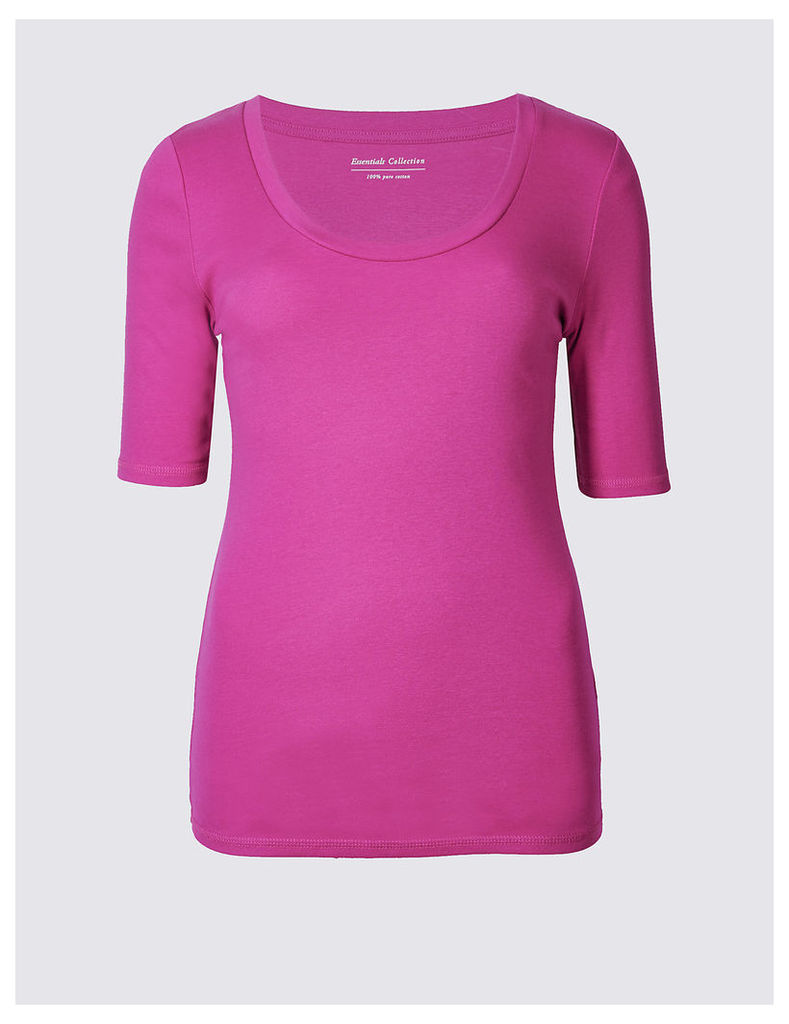 M&S Collection Pure Cotton Scoop Neck Half Sleeve T-Shirt