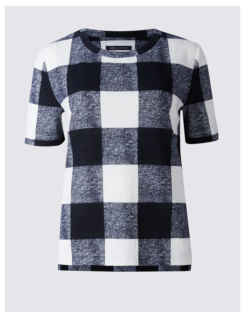 M&S Collection Checked Round Neck Short Sleeve T-Shirt