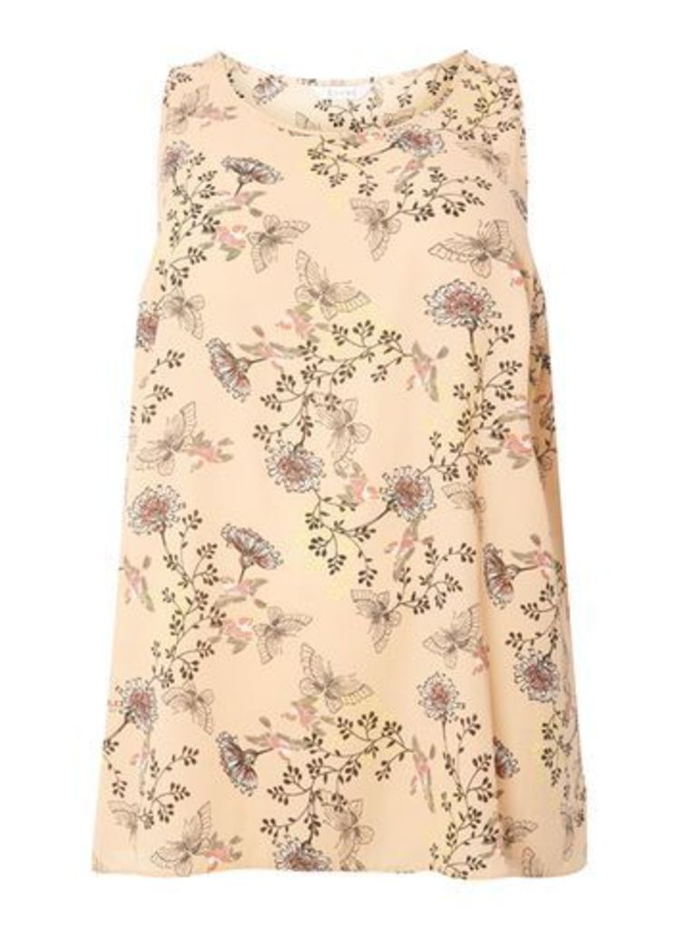Blush Pink Butterfly And Floral Print Vest, Dark Multi