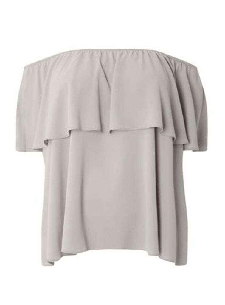 Grey Bardot Top, Grey