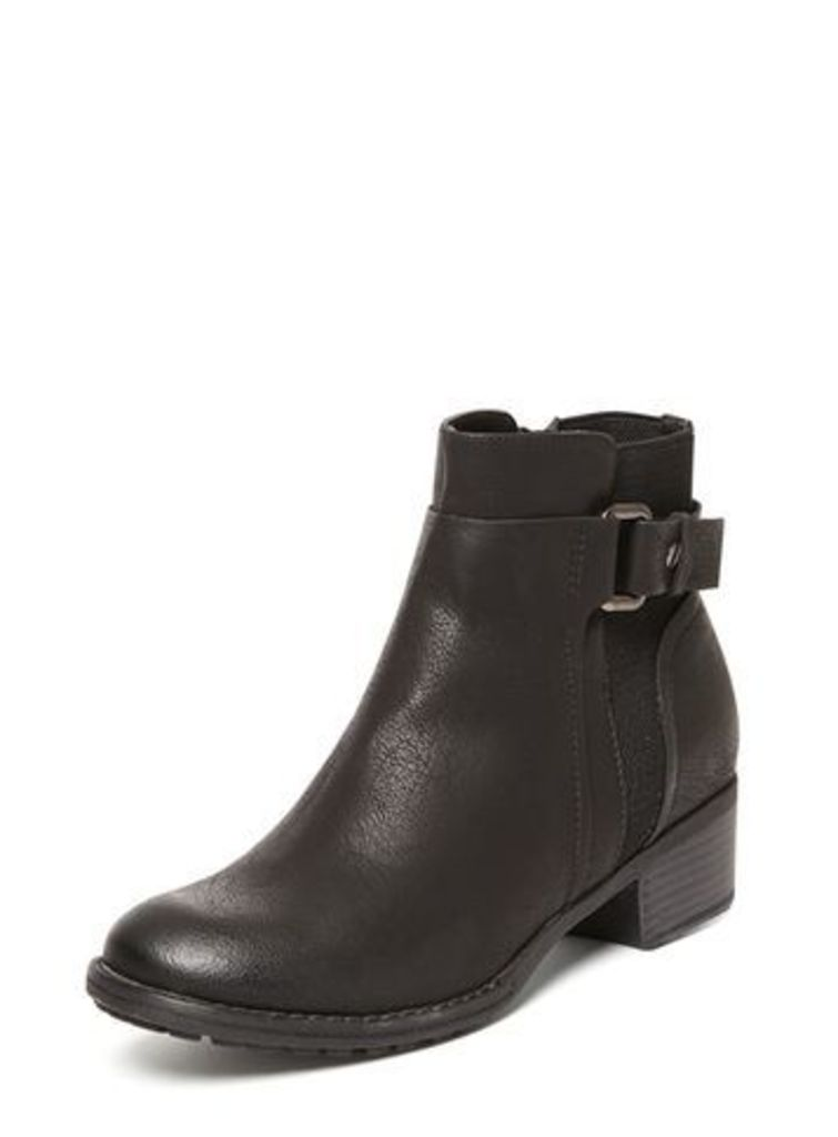 Black Round Toe Buckle Boots, Black