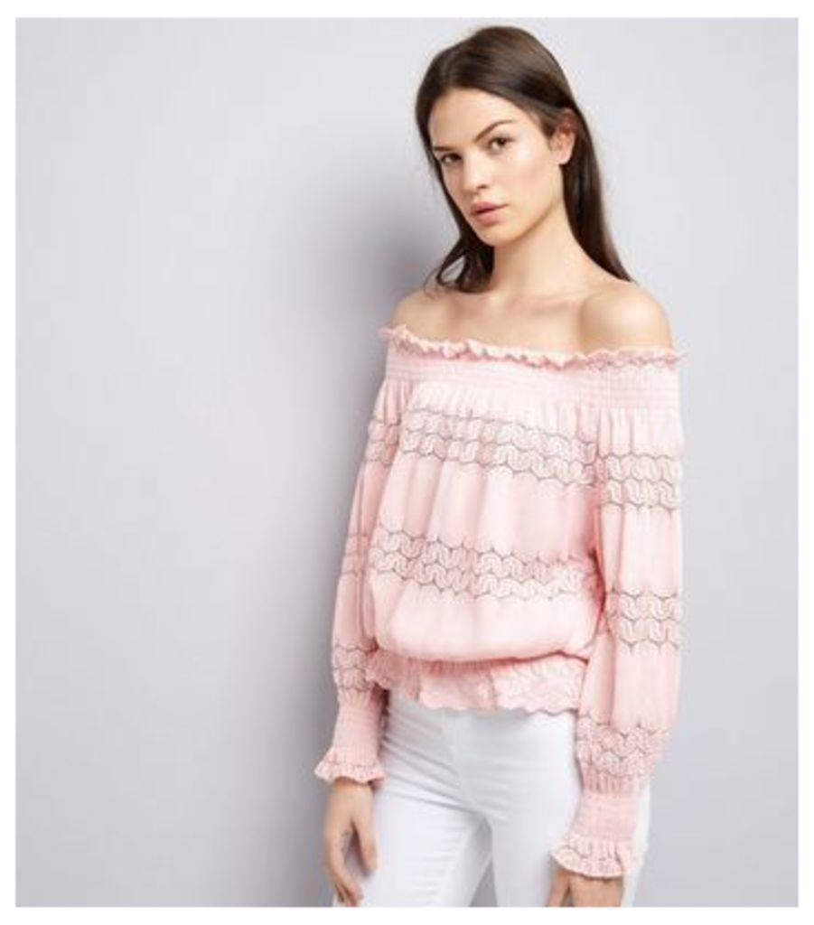 Cameo Rose Pink Crochet Lace Trim Bardot Neck Top