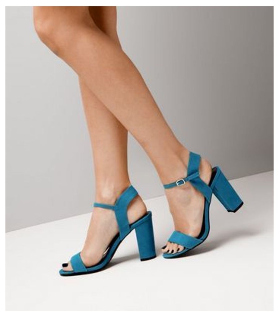 Blue Suedette Block Heel Ankle Strap Sandals