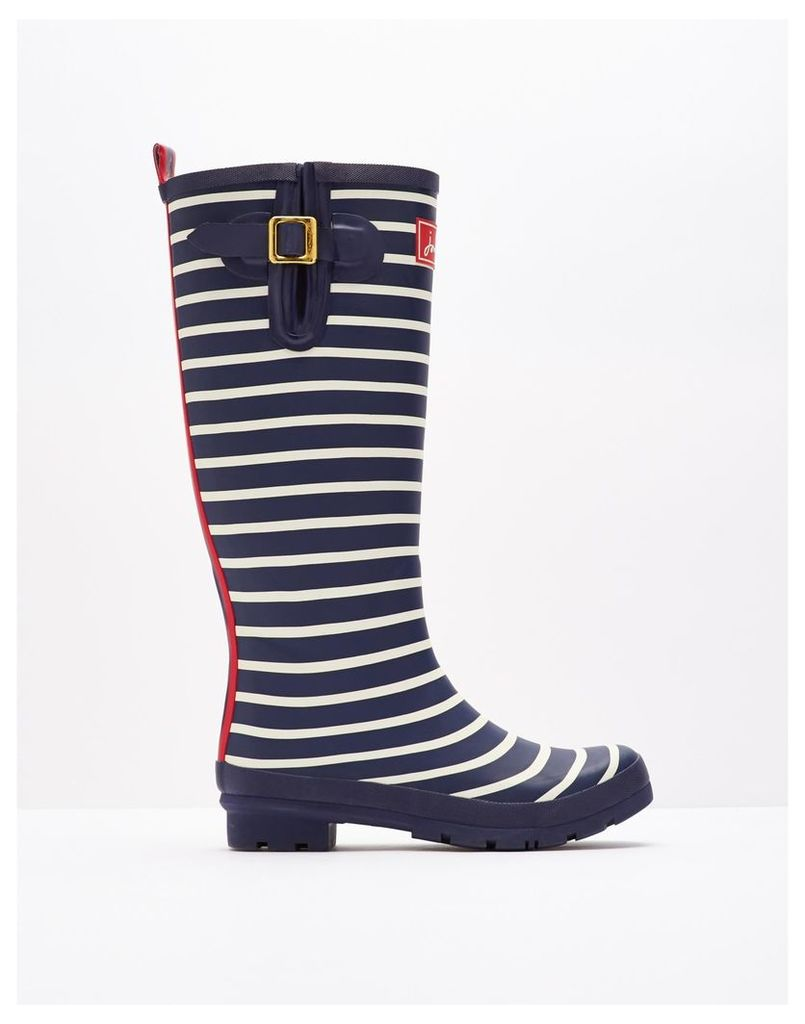 French Navy Stripe Printed Wellies  Size Adult Size 3 | Joules UK