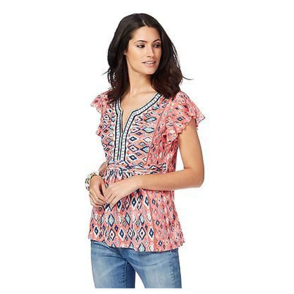 Mantaray Womens Pale Pink Aztec Embroidery Top From Debenhams