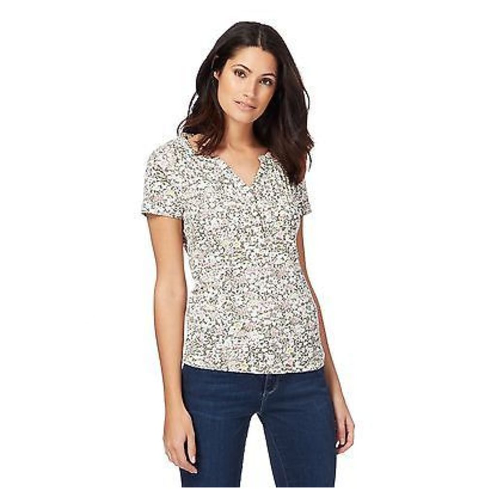 Maine New England Womens Multi-Coloured Floral Print Notch Neck Top