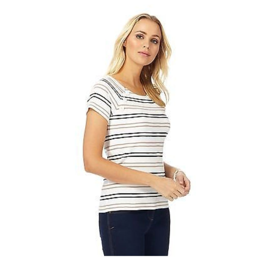 Maine New England Womens White Striped Jersey Top From Debenhams