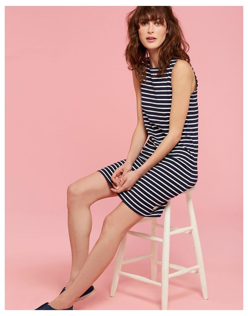 Hope Stripe French Navy Riva Jersey Dress  Size 8 | Joules UK