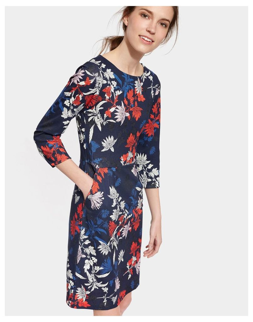 French Navy Fay Floral Beth Printed Ponte Dress  Size 10 | Joules UK