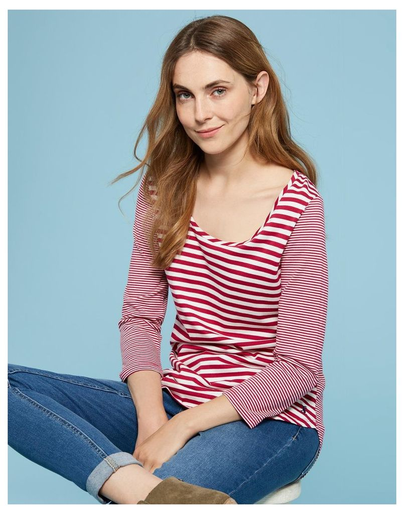 Dark Prink Stripe Mairin Jersey Top  Size 10 | Joules UK