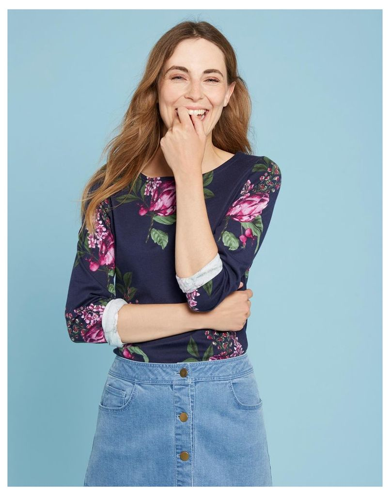 French Navy Artichoke Floral Harbour print Jersey Top  Size 18 | Joules UK
