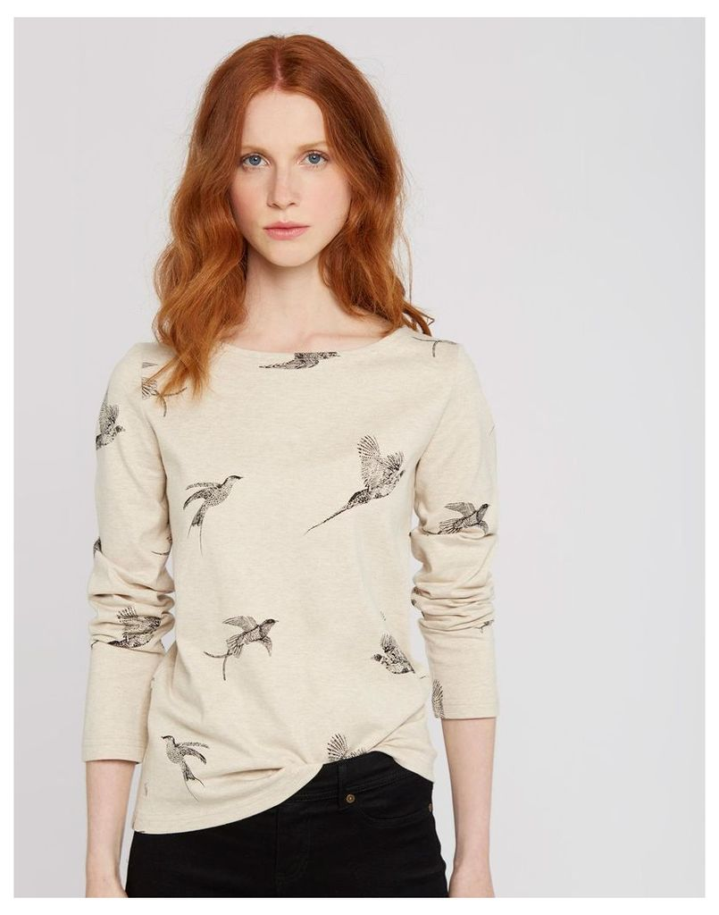 Oat Marl Birds Harbour print Jersey Top  Size 10 | Joules UK