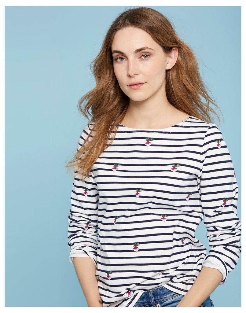Cream Radish Hope Stripe Harbour print Jersey Top  Size 8 | Joules UK