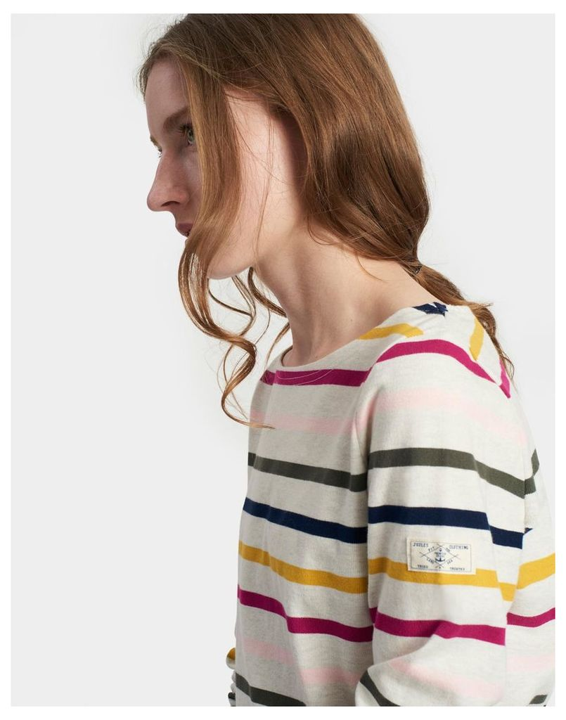 Pink Multi Stripe Harbour Jersey Top  Size 18 | Joules UK