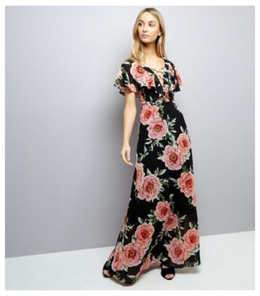 Black Floral Print Lattice Front Maxi Dress