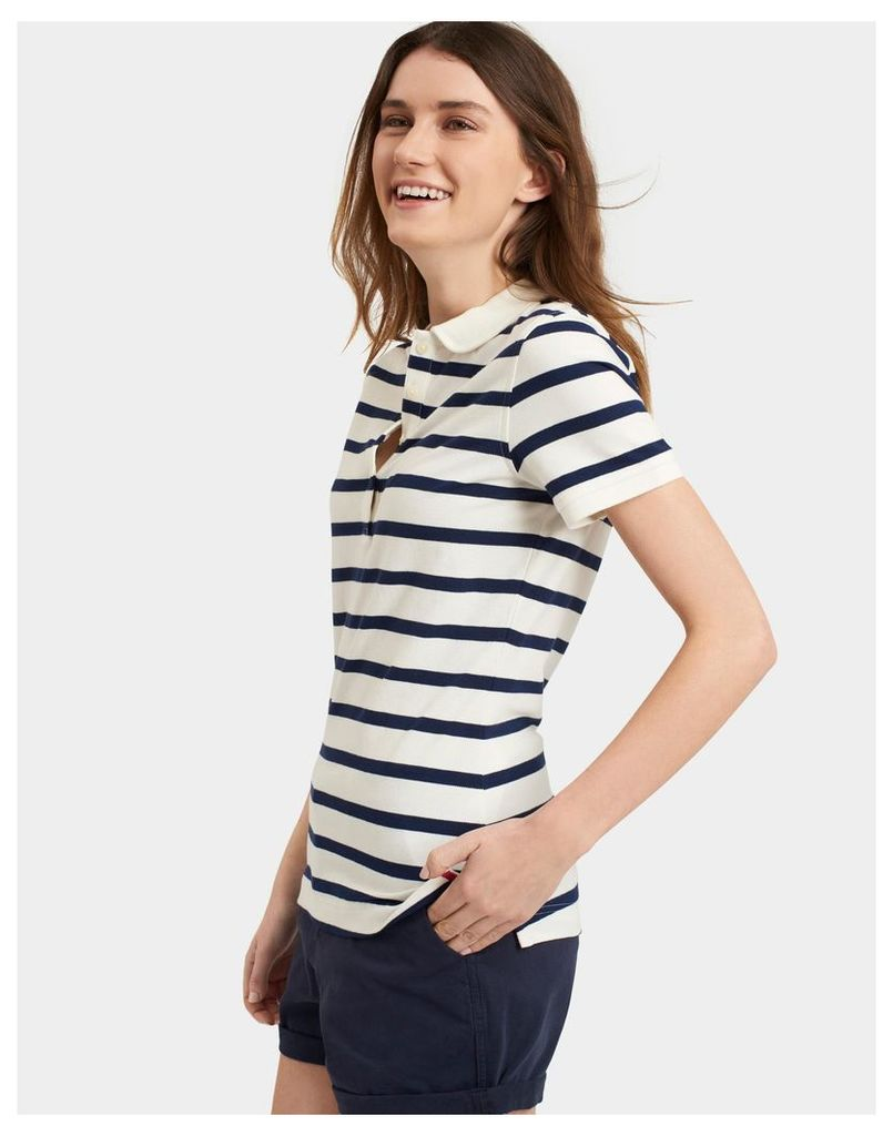 French Navy Stripe Trinity Slim Fit Polo Shirt  Size 12 | Joules UK