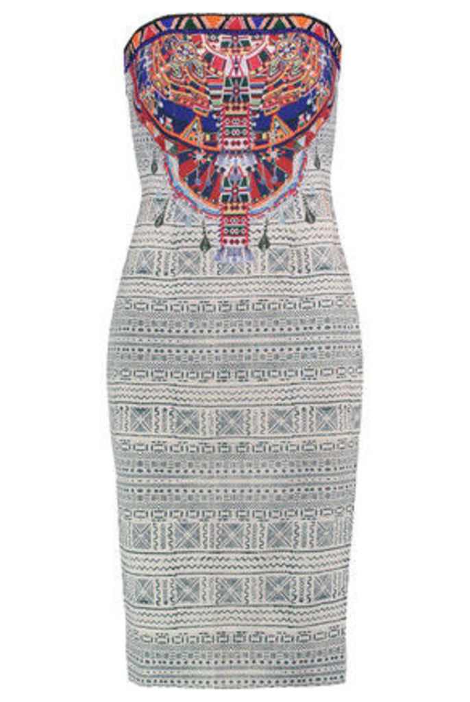 Camilla - Strapless Bead-embellished Printed Crepe De Chine Dress - White