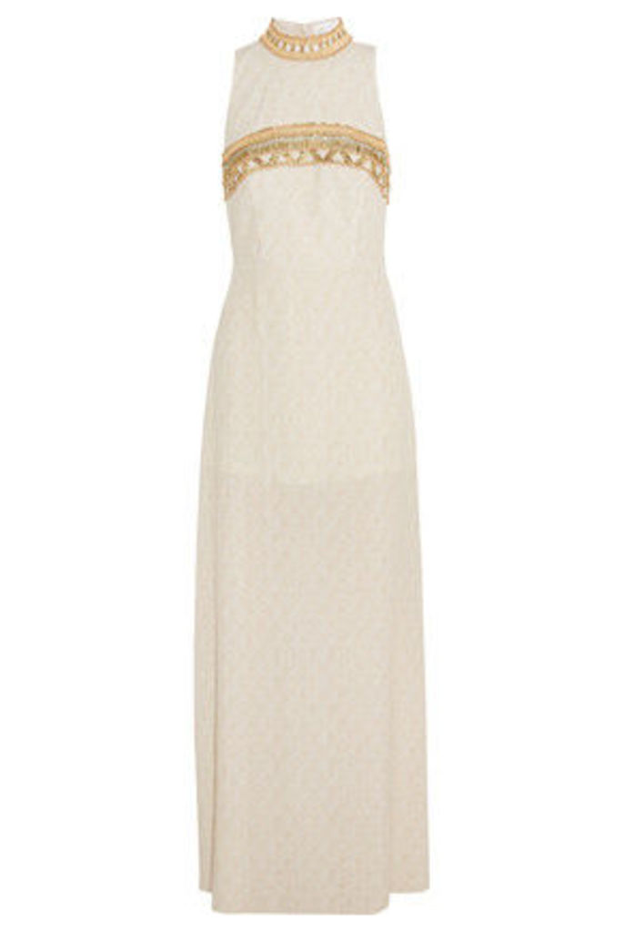 Camilla - Bead And Sequin-embellished Printed Crepe Maxi Dress - Ivory