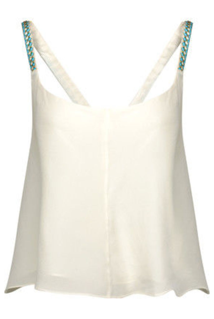 Camilla - Embellished Embroidered Silk Crepe De Chine Top - White