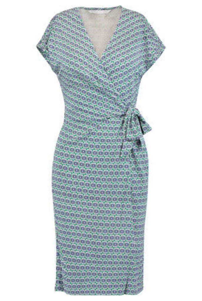 Diane von Furstenberg - Sascha Printed Silk-jersey Wrap Dress - Light green