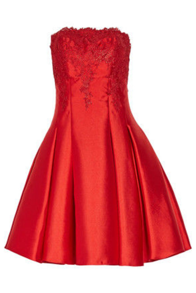 Mikael Aghal - Strapless Pleated Lace And Duchesse Satin-twill Mini Dress - Red