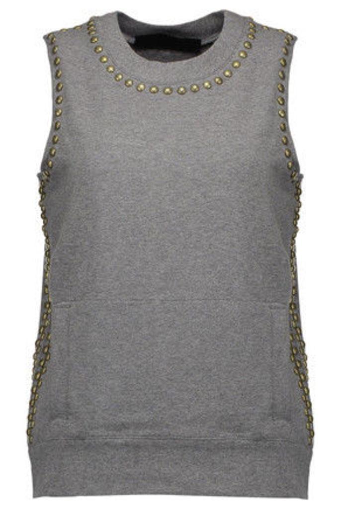 Norma Kamali - Stud-embellished Stretch-cotton Top - Dark gray