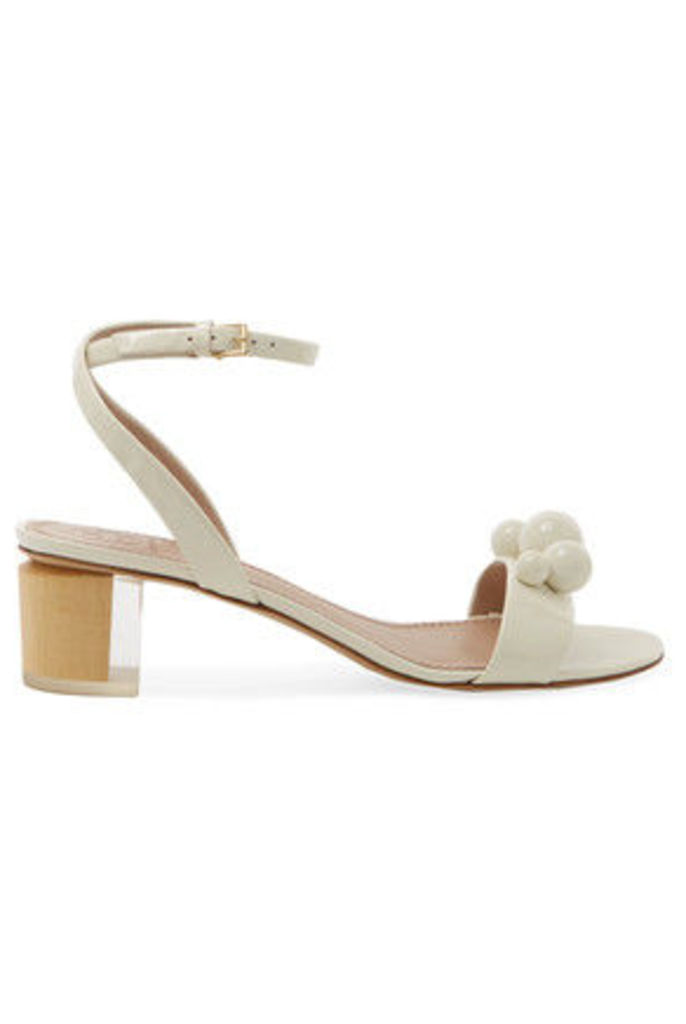 Tory Burch - Disco Embellished Patent-leather Sandals - Ivory