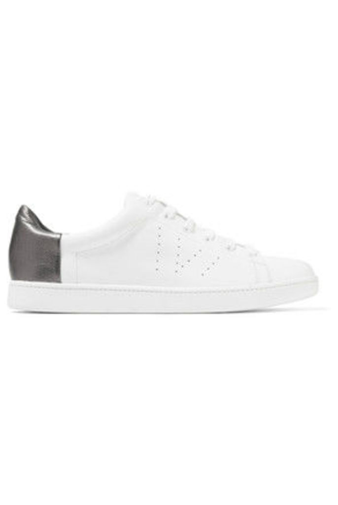 Vince - Varin Metallic Paneled Textured And Perforated Leather Sneakers - White