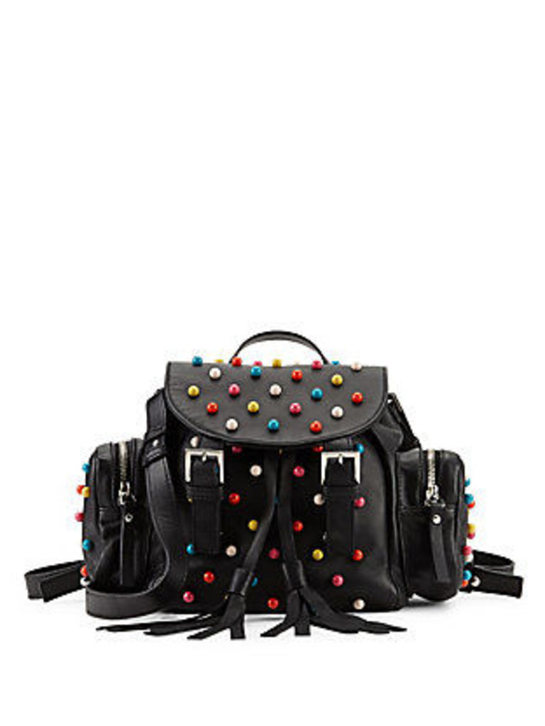Beaded Leather Backpack