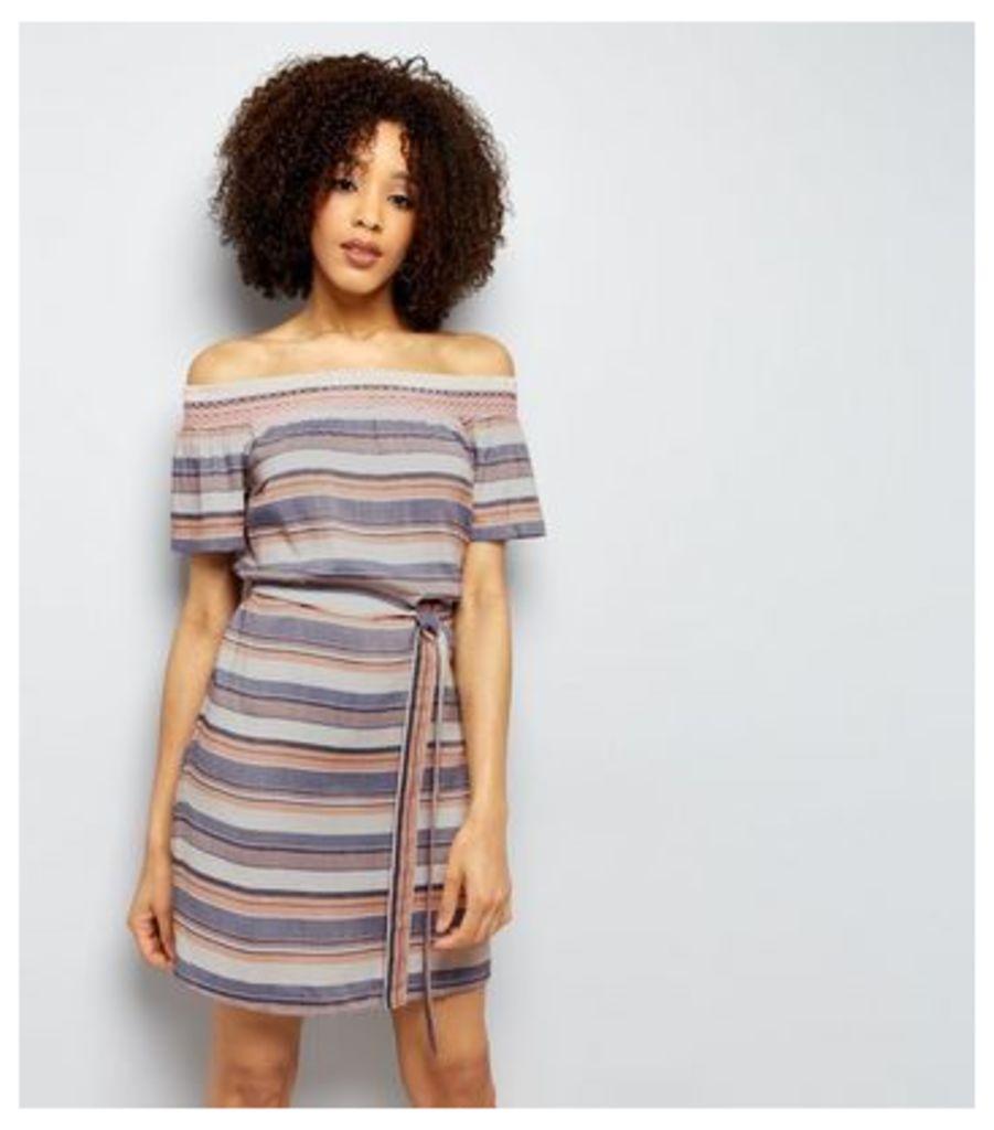 Blue Stripe Shirred Tie Waist Bardot Dress