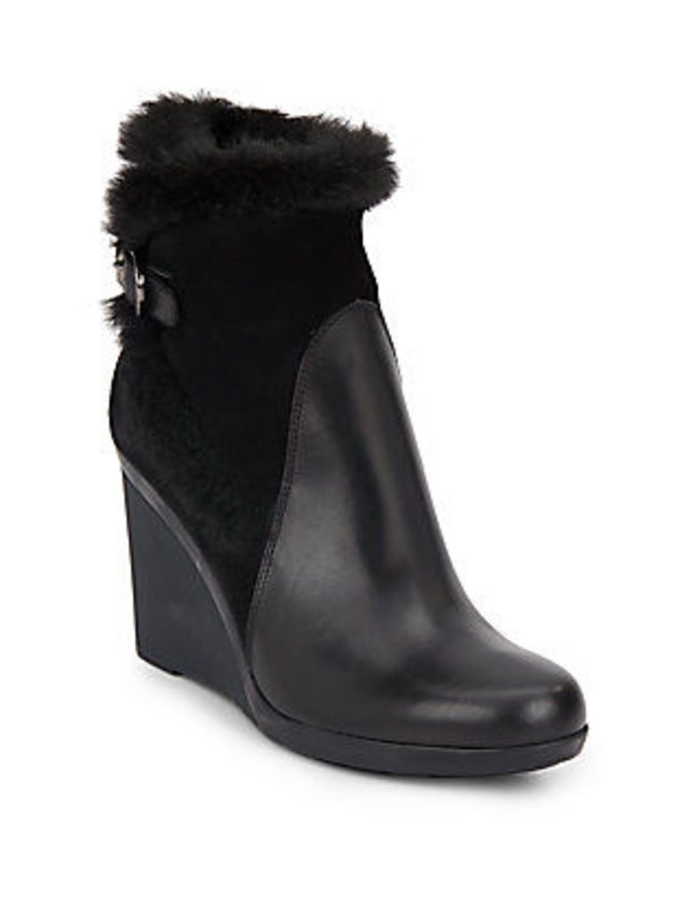 Natalie Faux Fur-Trimmed Leather & Suede Wedge Bootie