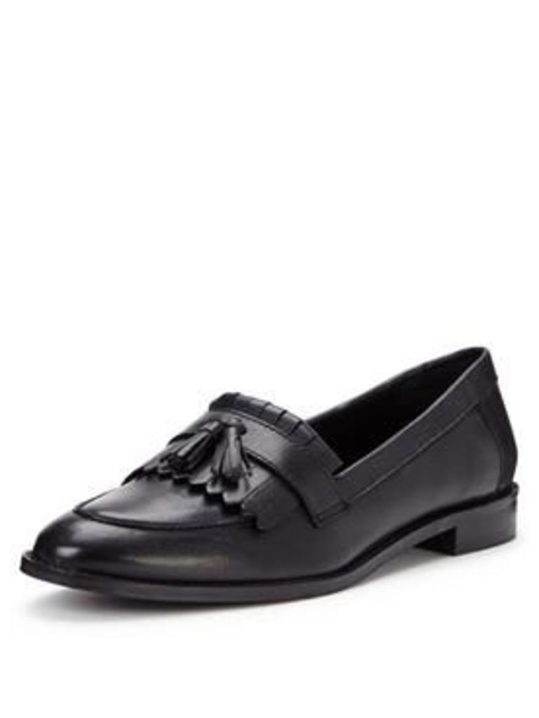 V By Very Grafton Wide Fit Leather Tassel Loafer - Black