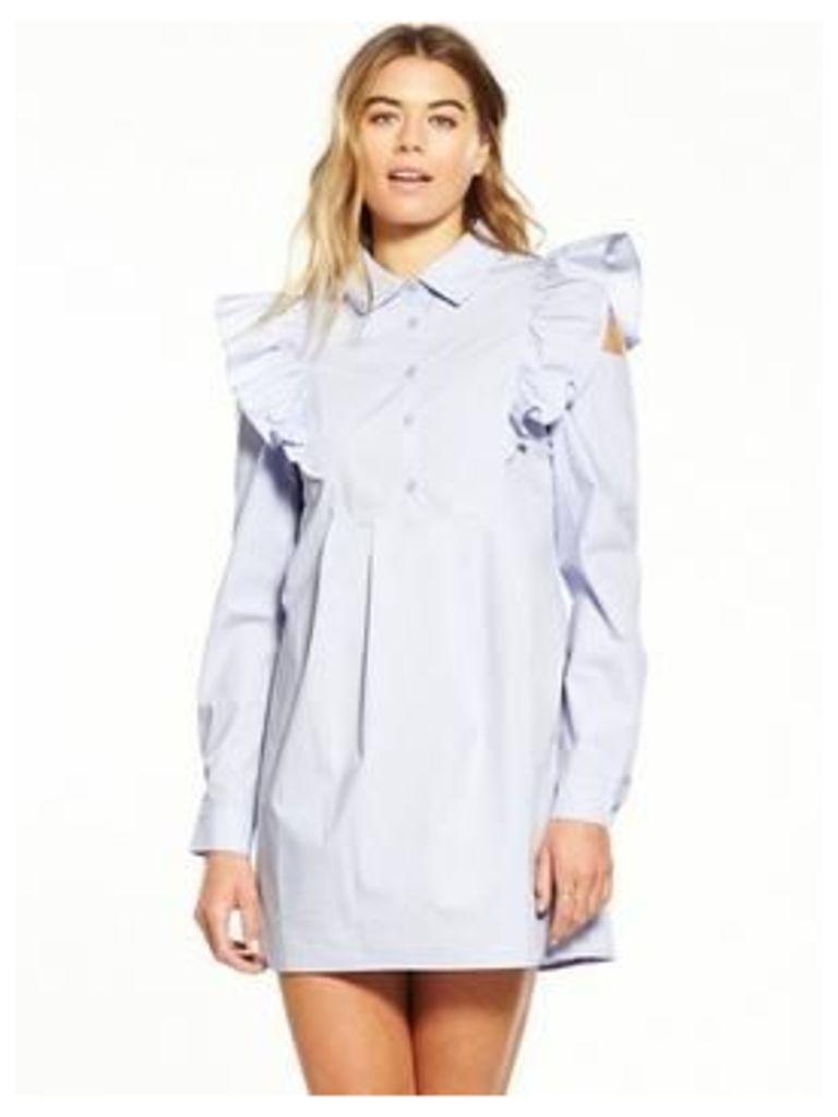 Fashion Union Ruffle Shoulder Shirt Dress - Lilac