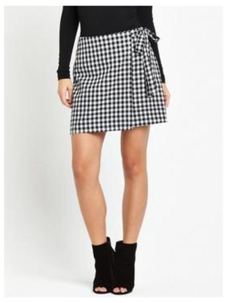 Fashion Union Gisele Gingham Skirt - Black