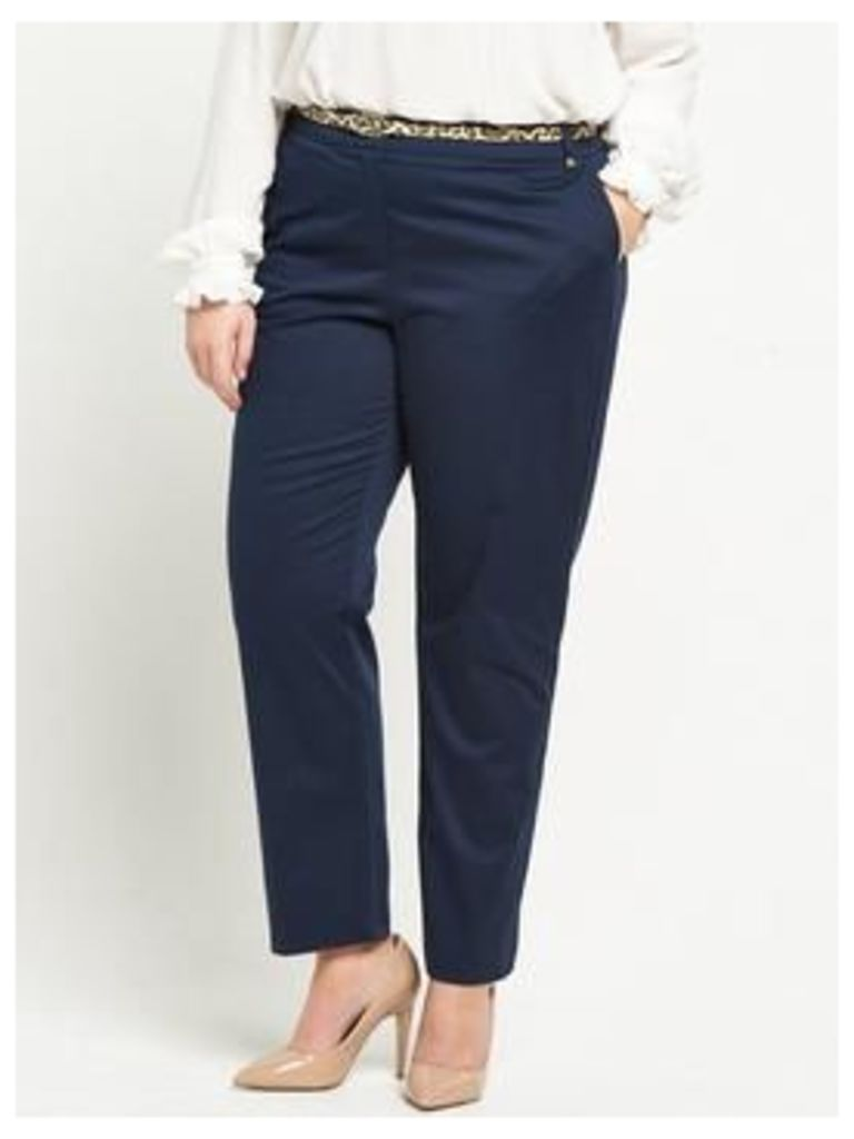 V By Very Curve Belted Cotton Sateen Trouser - Navy